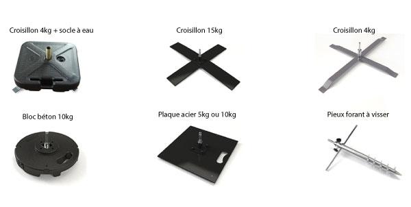 6 choix de socle pour un drapeau publicitaire