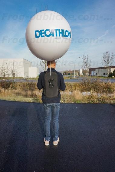 homme ballon | Ballon sac à dos Décathlon 80cm pour street marketing