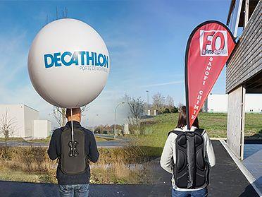 drapeau & ballon sac à dos pour streetmarketing