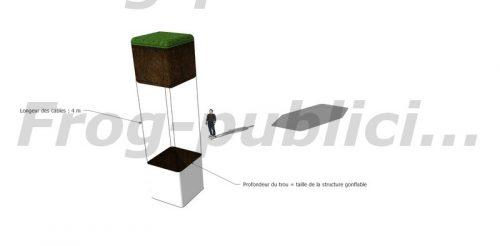 simulation 3D cube gonflable total covering projet artistique guillaume lepoix