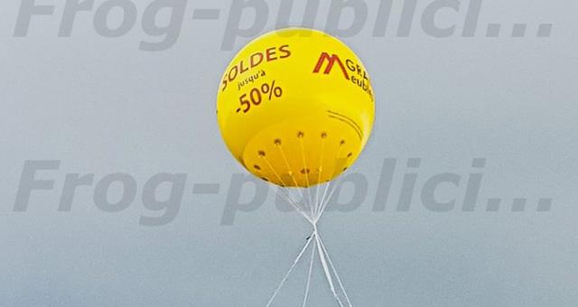 Publicité pas chère: PLV hélium personnalisée avec votre logo & slogan !