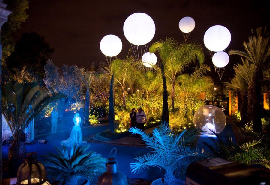 Ballons hélium éclairants et lumineux au casino la Mamounia
