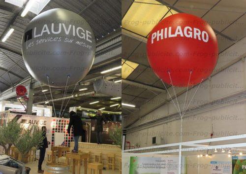 2 ballons publicitaires personnalisés Lauvige et philagro pour le salon SITEVI à Paris
