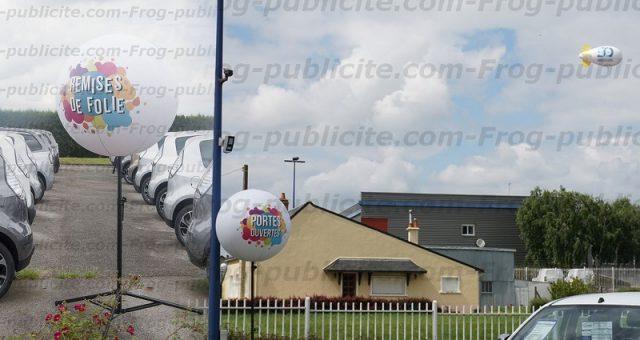 10 ballons sur trépied et 1 dirigeable pour les portes ouvertes Glinche automobile