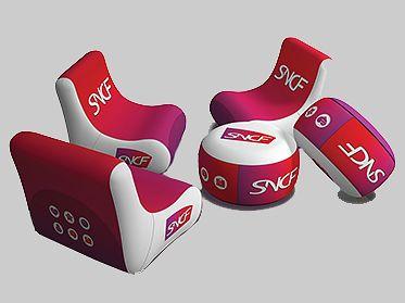 mobilier publicitaire gonflable pour habillage stand professionnel